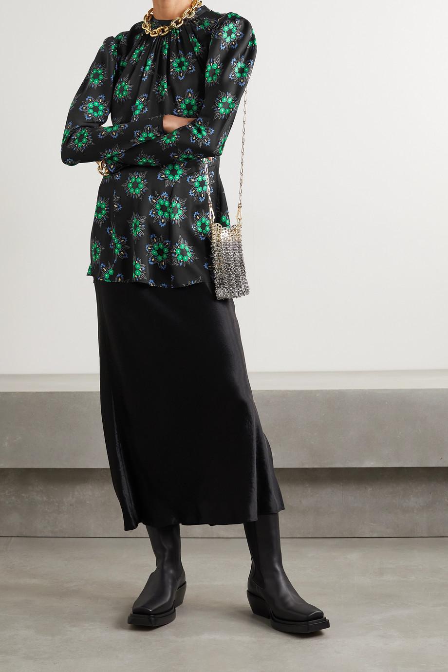 Paco Rabanne Floral-print poplin blouse