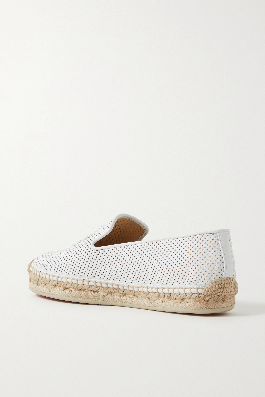 Christian Louboutin Chaussures plates façon espadrilles en cuir perforé à logos brodés Nanou Orlato