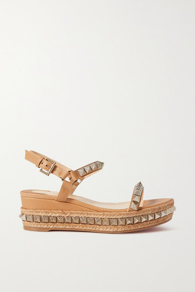 Christian Louboutin Leathers PYRACLOU 60 STUDDED LEATHER WEDGE SANDALS