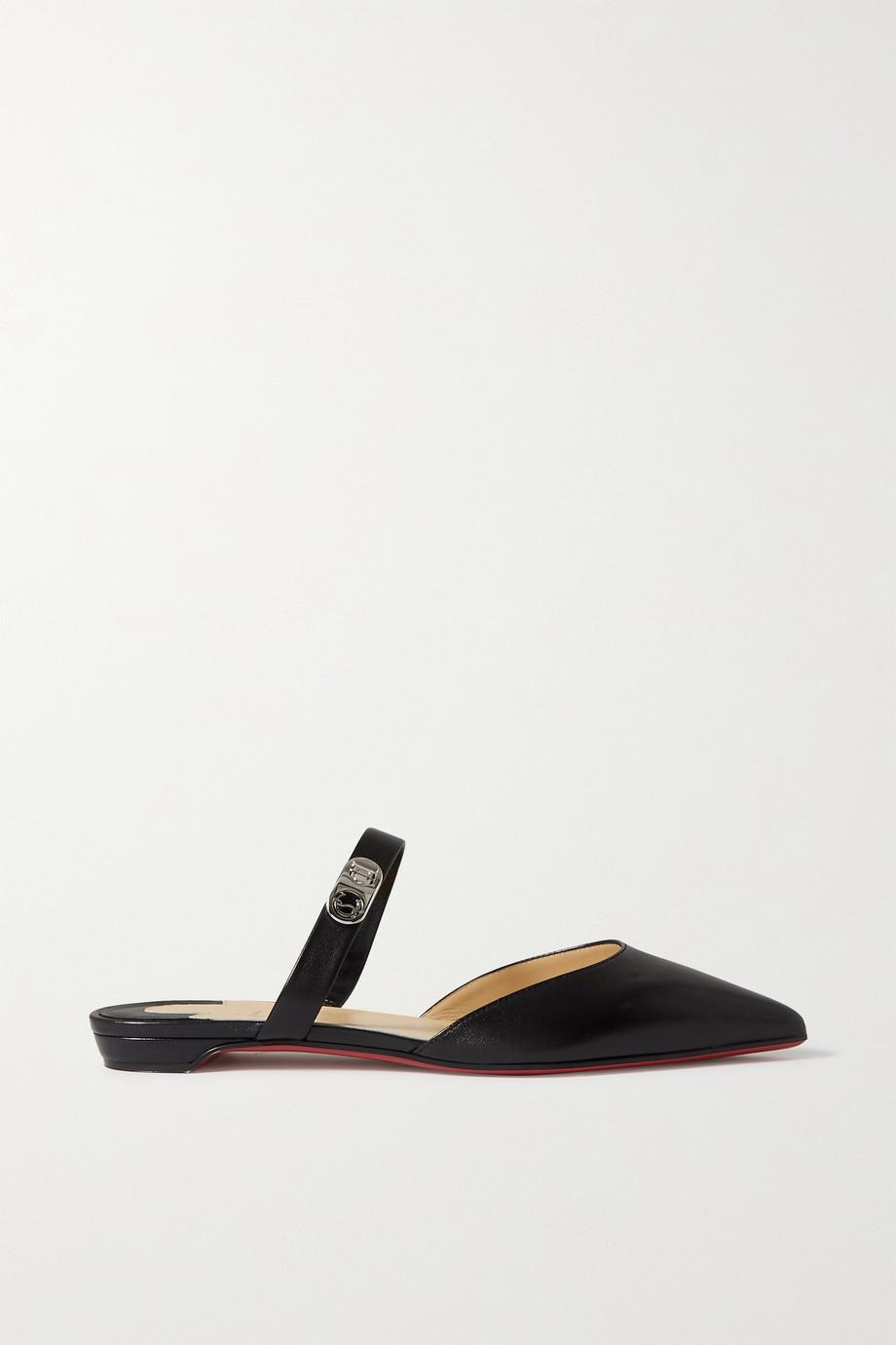 Christian Louboutin Chaussures plates à bouts pointus en cuir Choc Lock