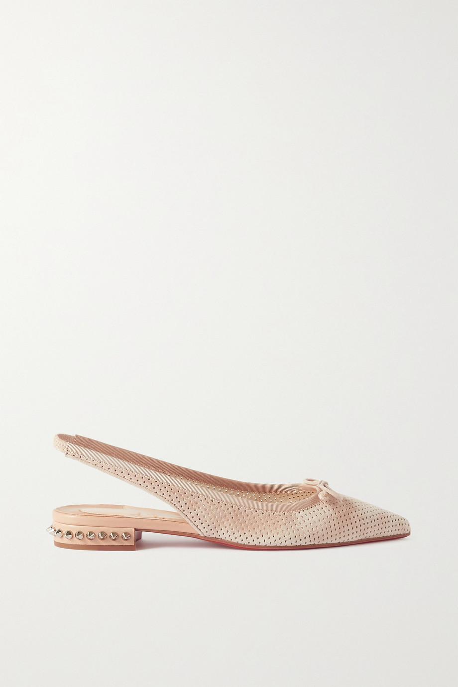 Christian Louboutin Chaussures plates à bouts pointus et à brides en daim perforé à clous Hall 20