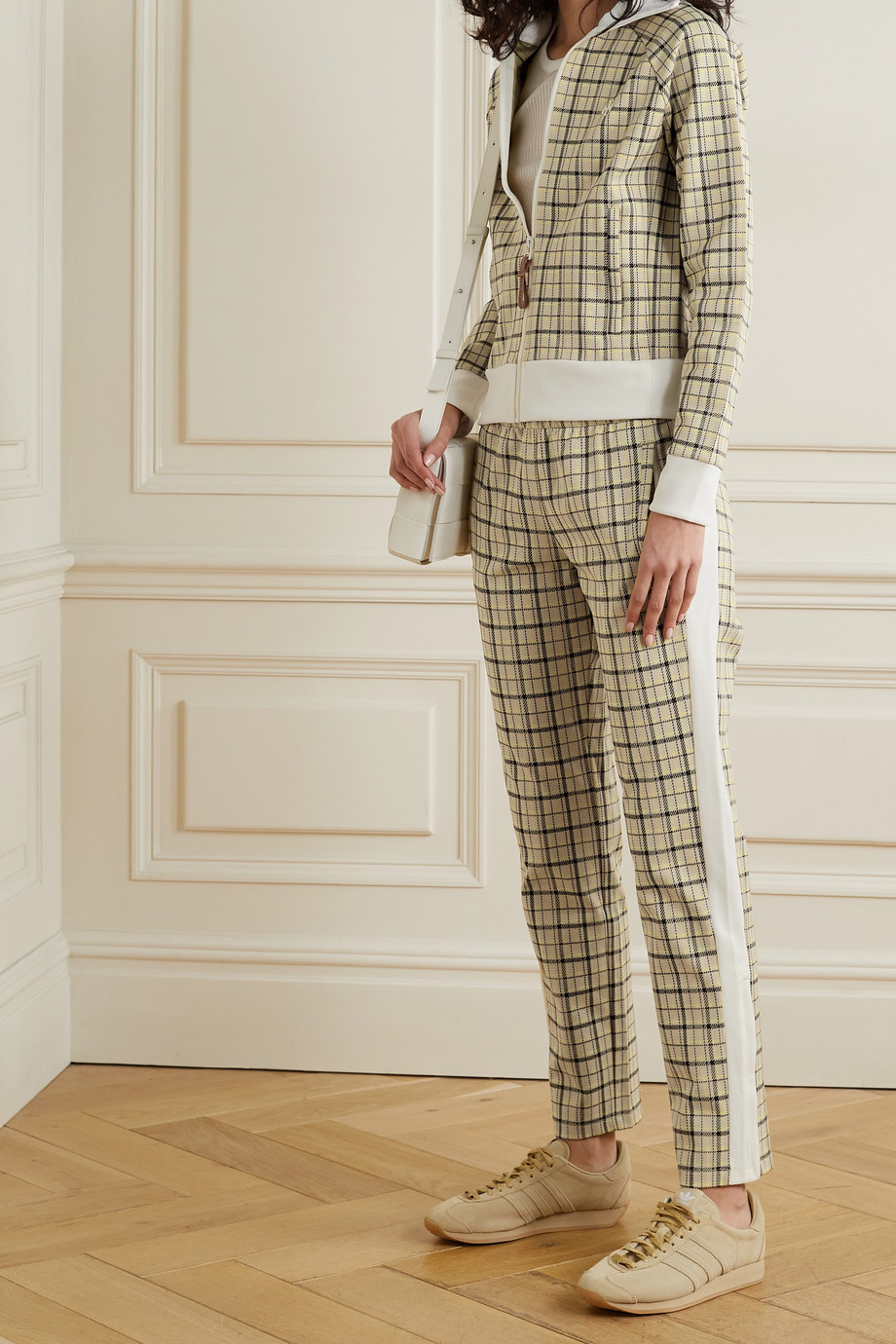 Tory Sport Checked tech-jersey track pants