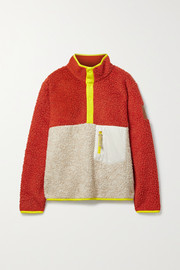 Tory Sport Shell and jersey-trimmed fleece sweatshirt