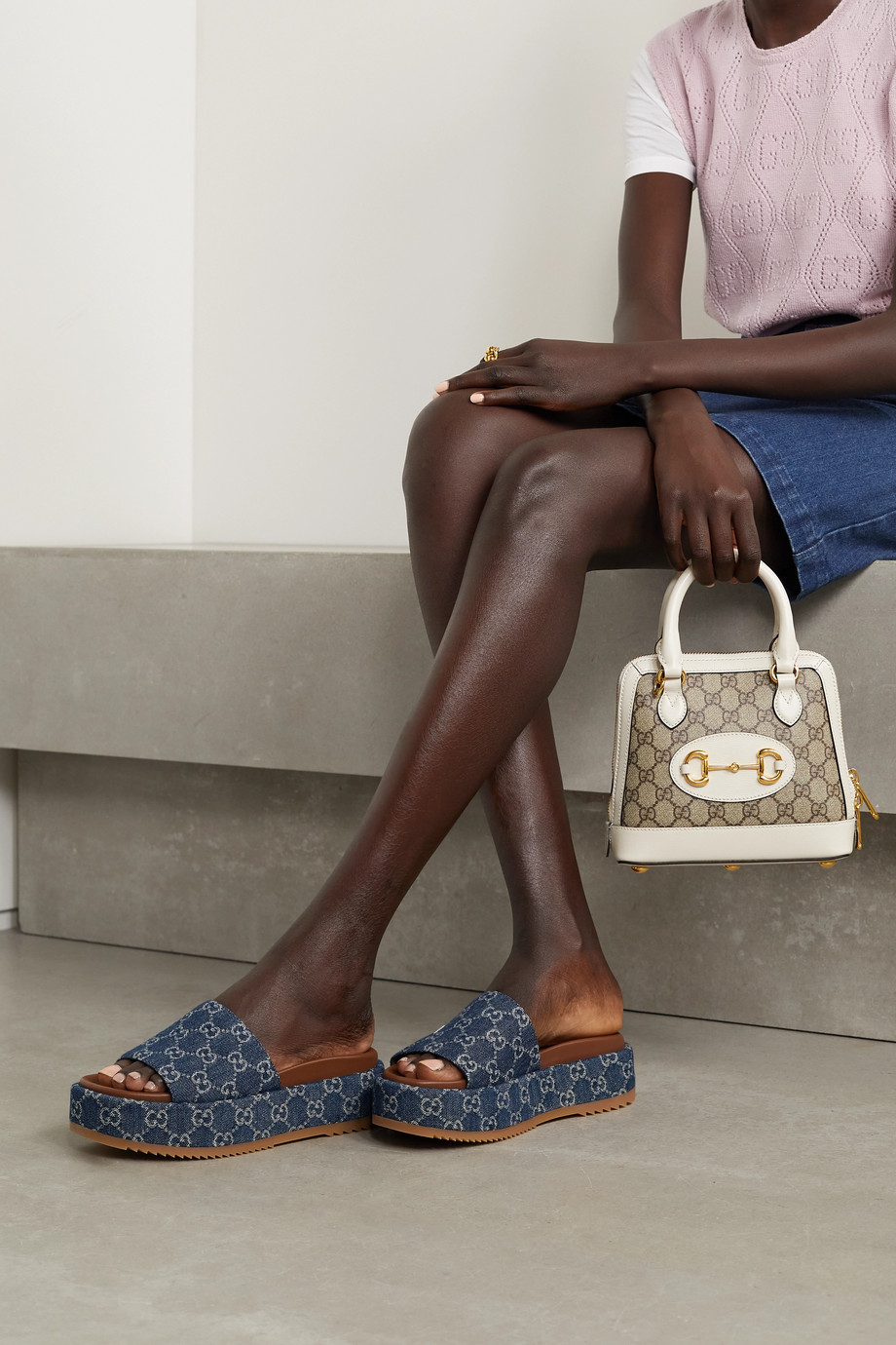 Gucci Angelina logo-jacquard organic denim platform sandals
