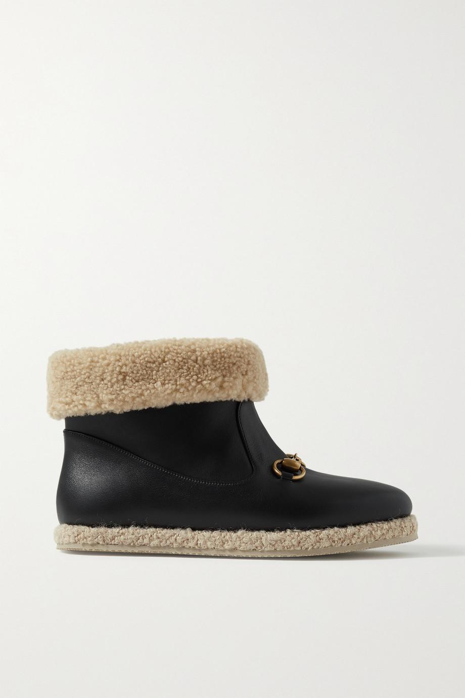 Gucci Fria Ankle Boots aus Leder mit Besatz aus Shearling-Imitat und Horsebit-Detail
