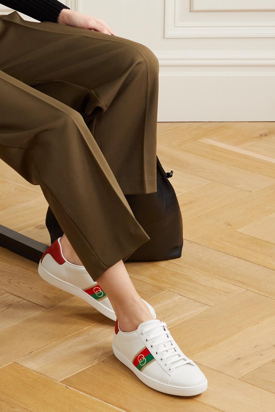Gucci Ace 织带边饰皮革运动鞋
