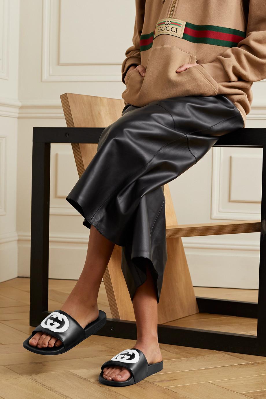 Gucci Pursuit logo-appliquéd leather slides