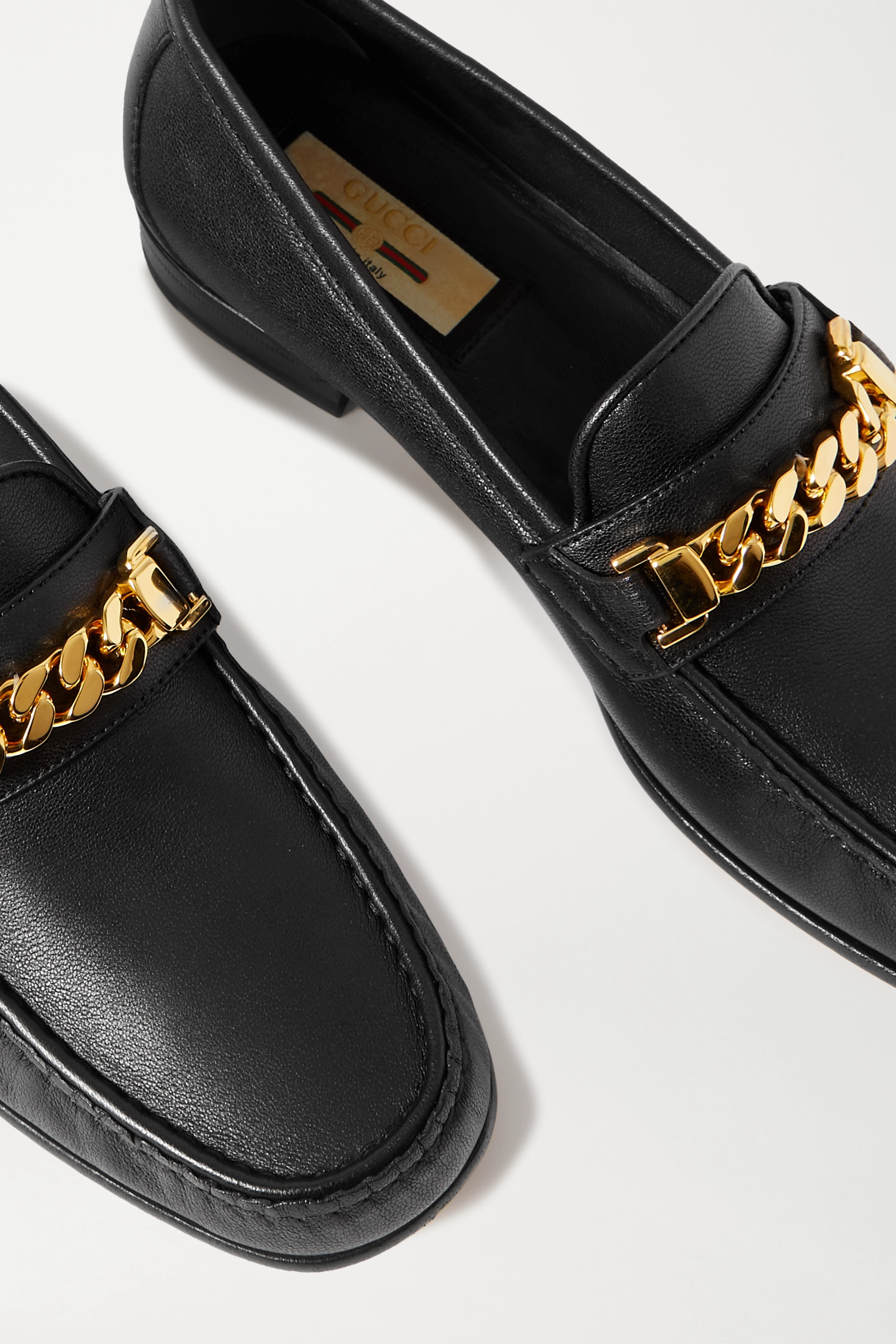 Gucci + NET SUSTAIN Sylvie chain-embellished leather loafers