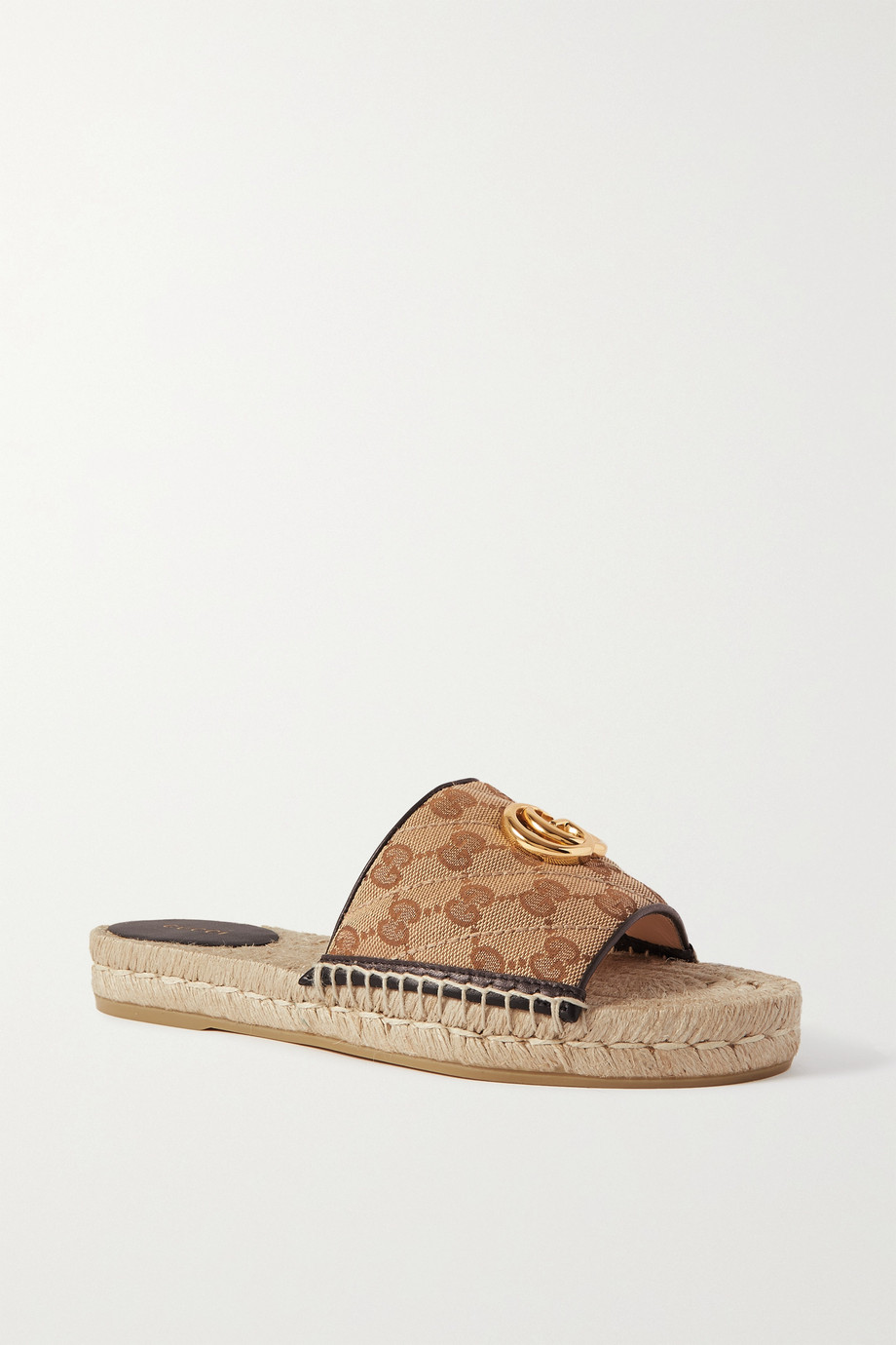 Gucci Pilar leather-trimmed embellished logo-detailed canvas espadrille slides