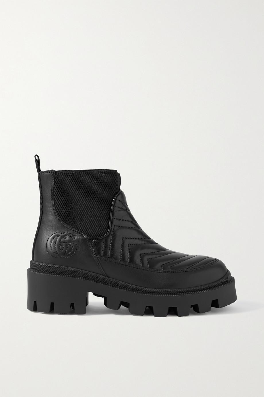Gucci Frances Chelsea Boots aus gestepptem Leder mit Logostickerei