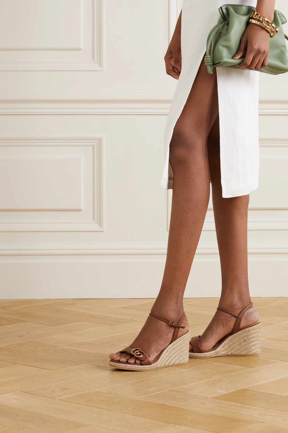 Gucci Aitana 85 leather espadrille wedge sandals