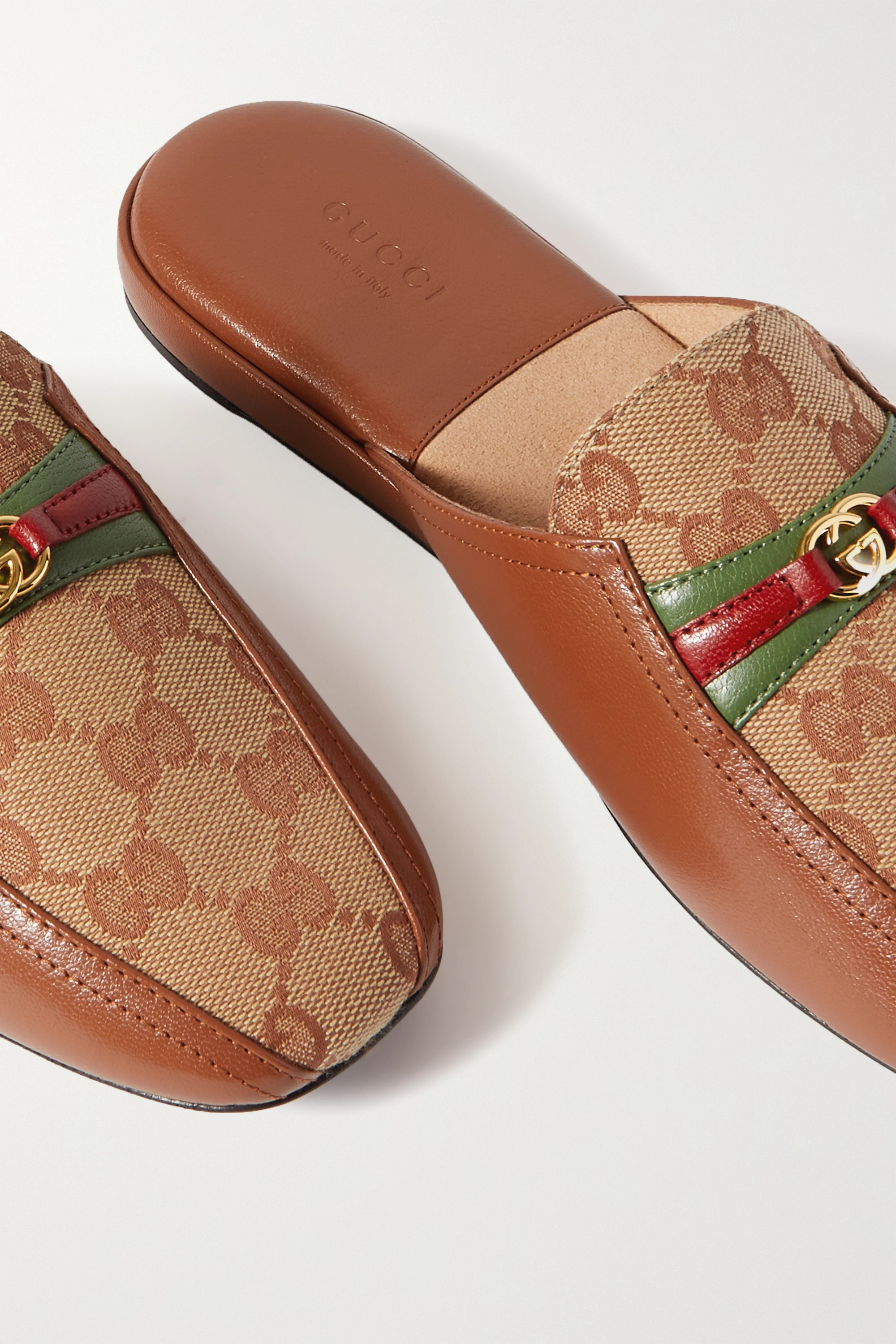 Gucci Pericle logo-detailed leather and canvas slippers