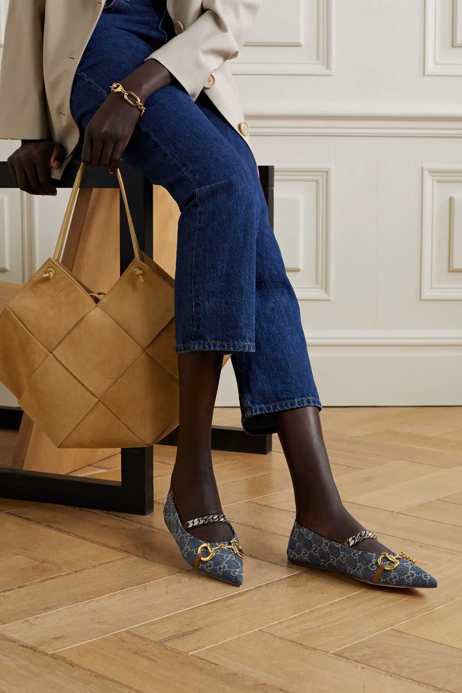 Gucci + NET SUSTAIN Deva embellished logo-jacquard organic denim collapsible-heel point-toe flats