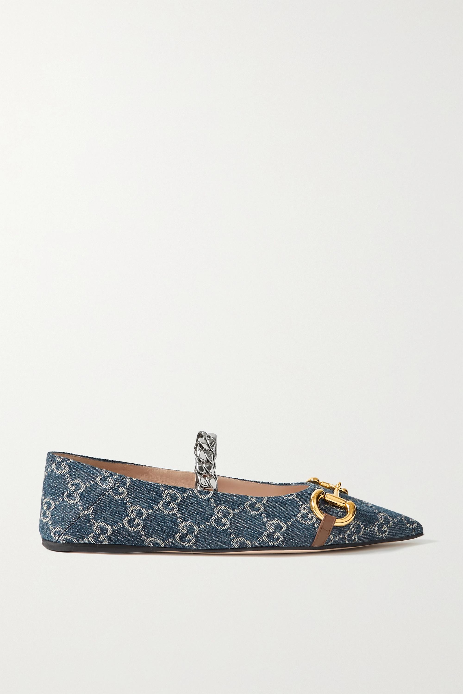 Gucci + NET SUSTAIN Deva embellished logo-jacquard organic denim collapsible-heel point-toe flats