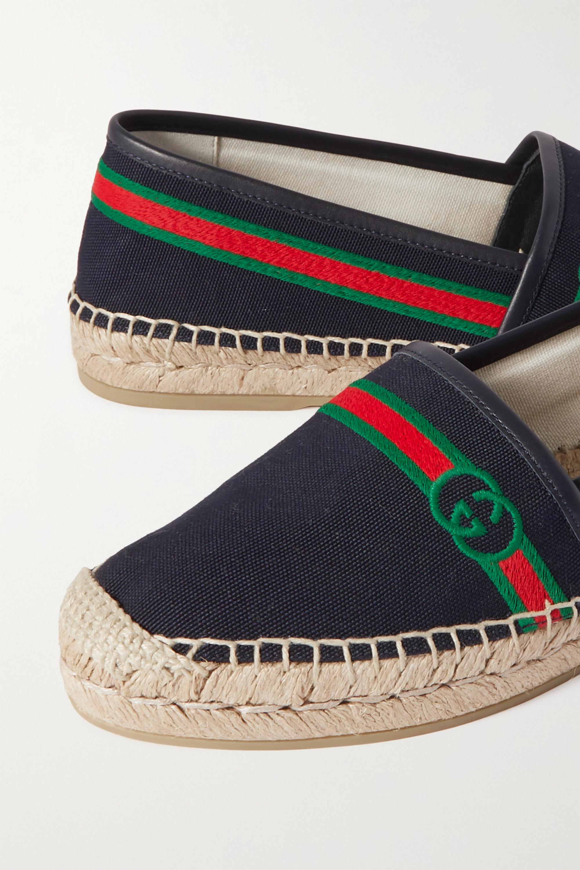Gucci Espadrilles en toile à logo et à finitions en cuir Pilar - NET SUSTAIN