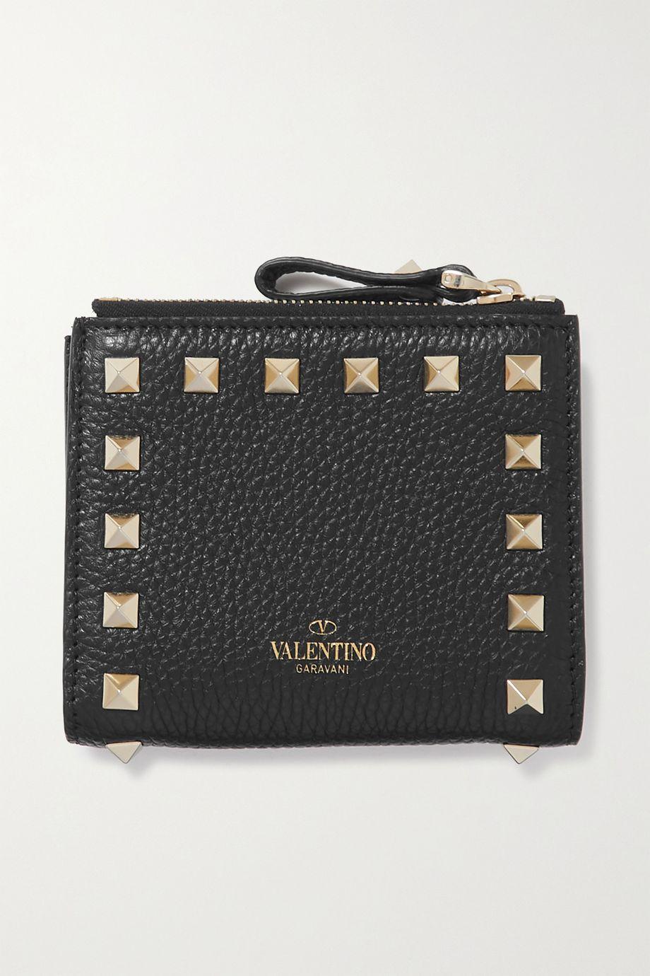 Valentino Valentino Garavani Rockstud textured-leather wallet