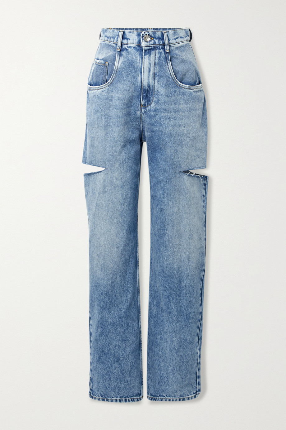 Maison Margiela Cutout distressed high-rise wide-leg jeans