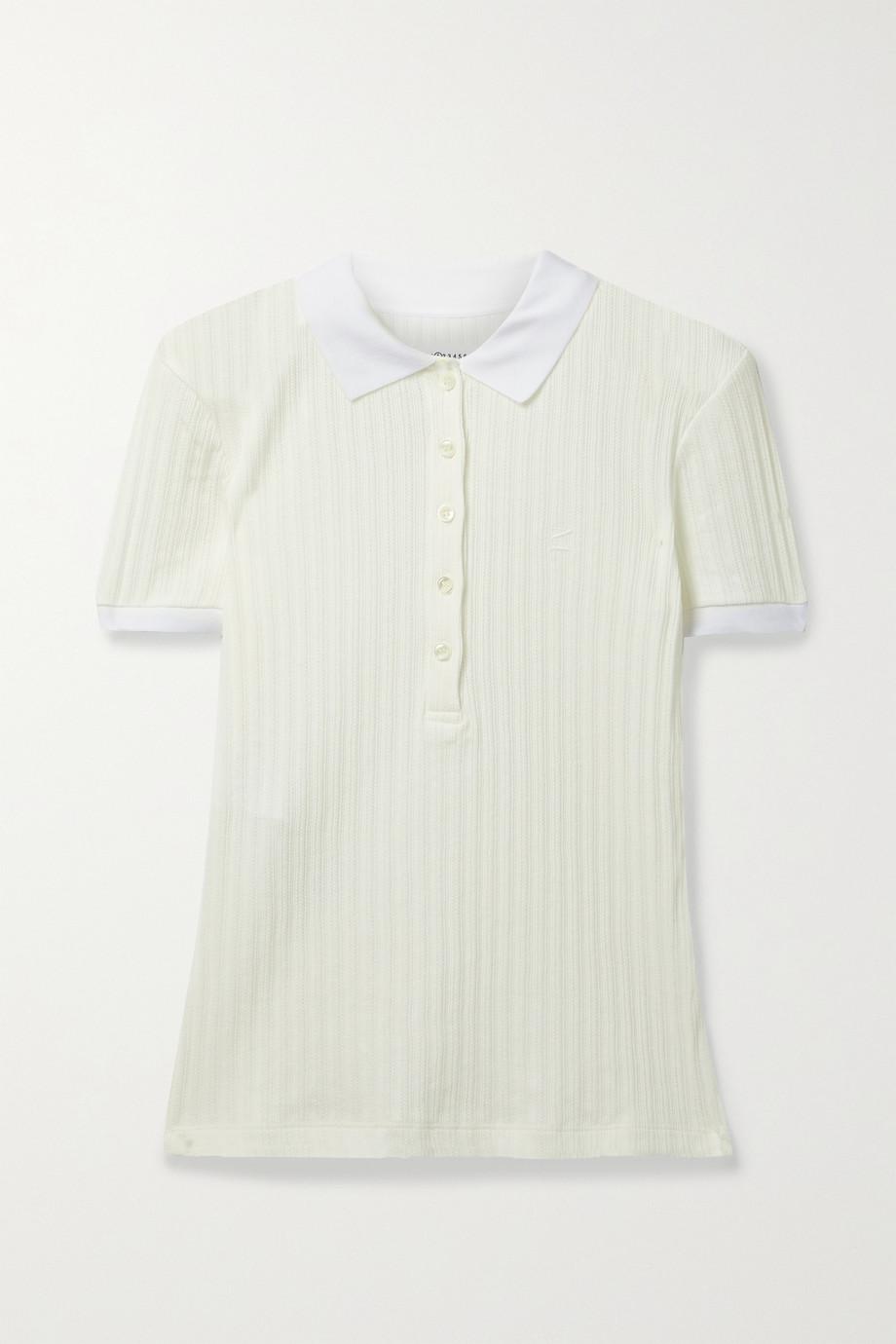 Maison Margiela Ribbed pointelle-knit cotton polo shirt