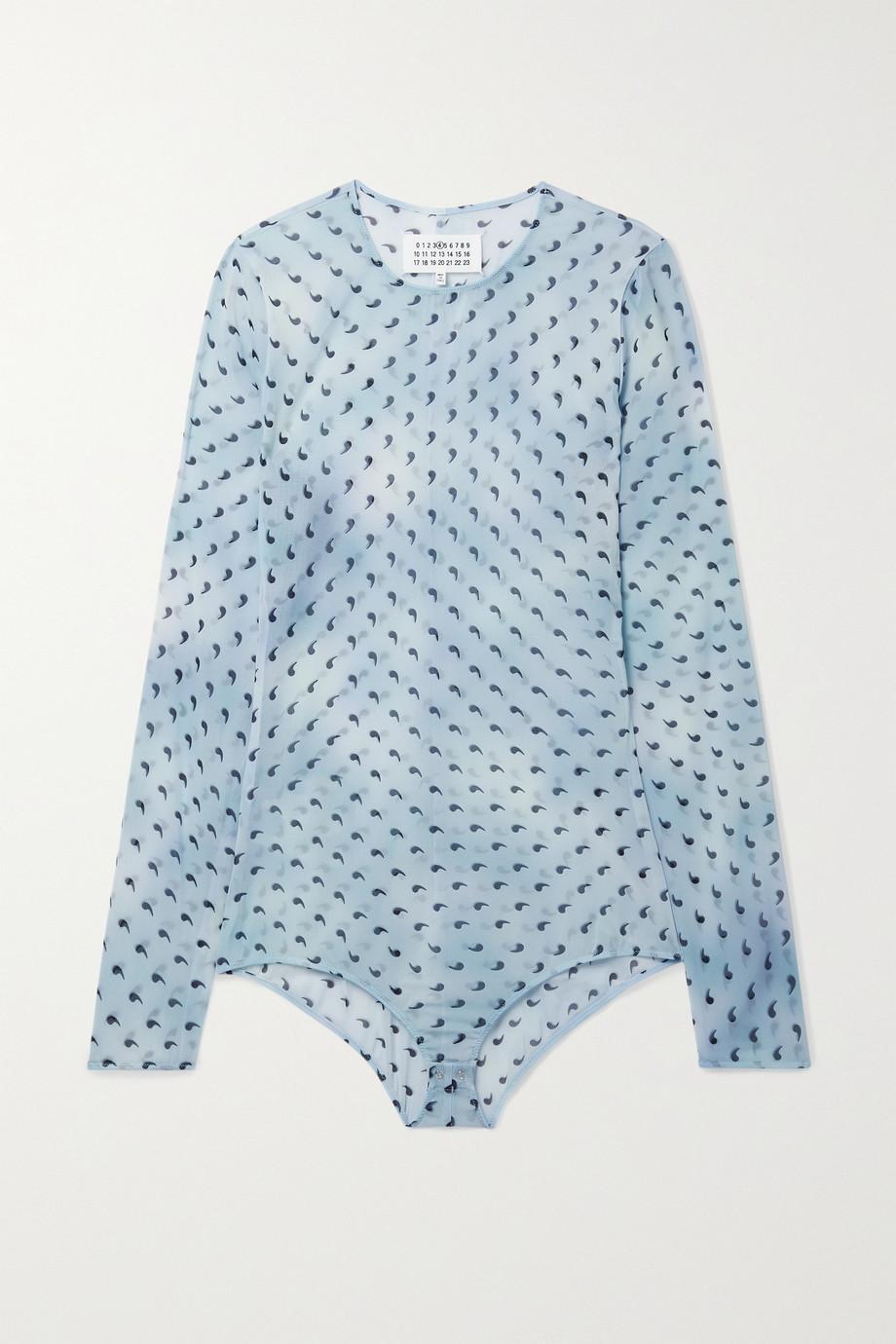 Maison Margiela Printed stretch-silk chiffon bodysuit