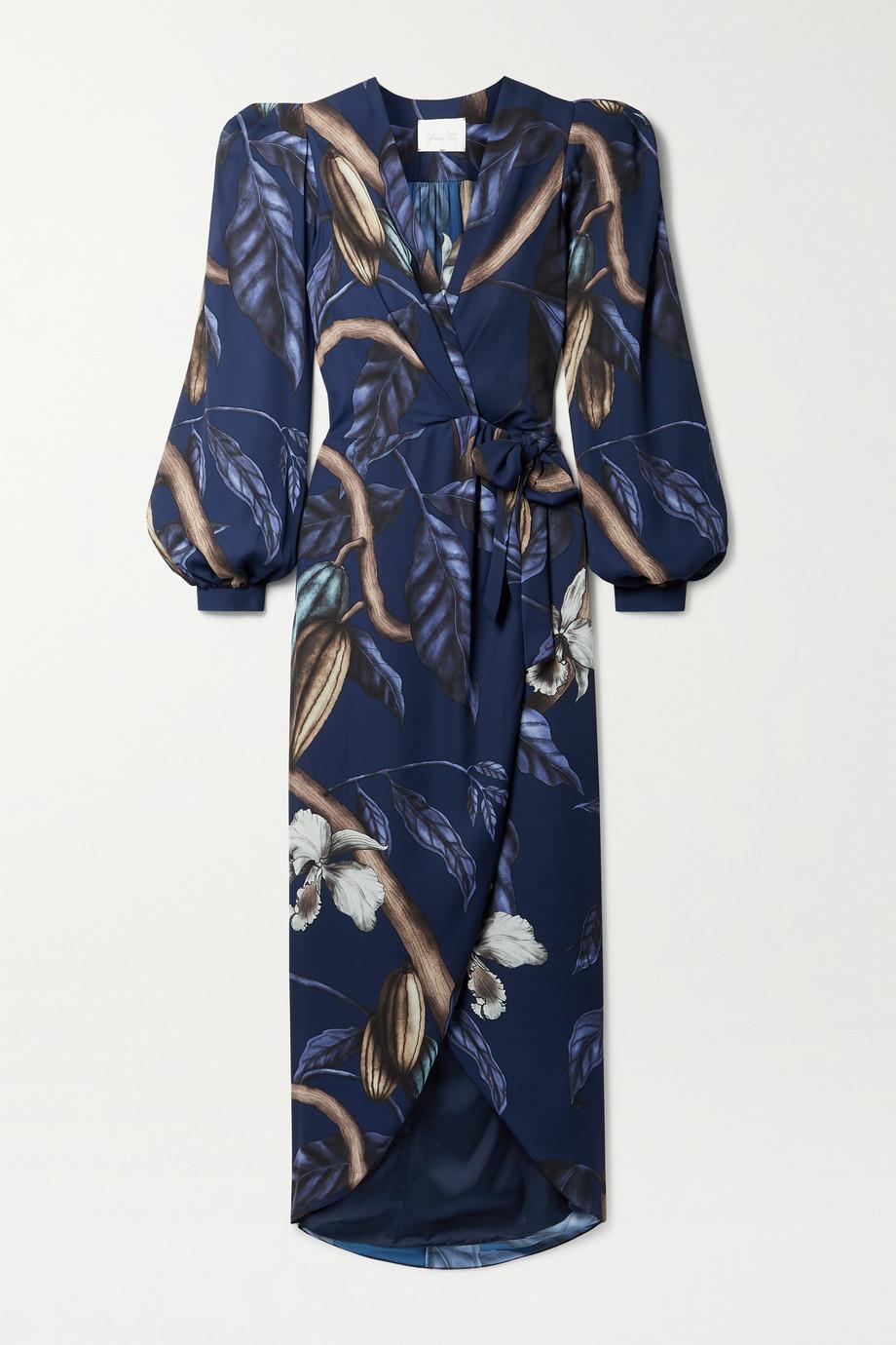Johanna Ortiz + NET SUSTAIN Reino Vegetal bedrucktes Midi-Wickelkleid aus recyceltem Satin