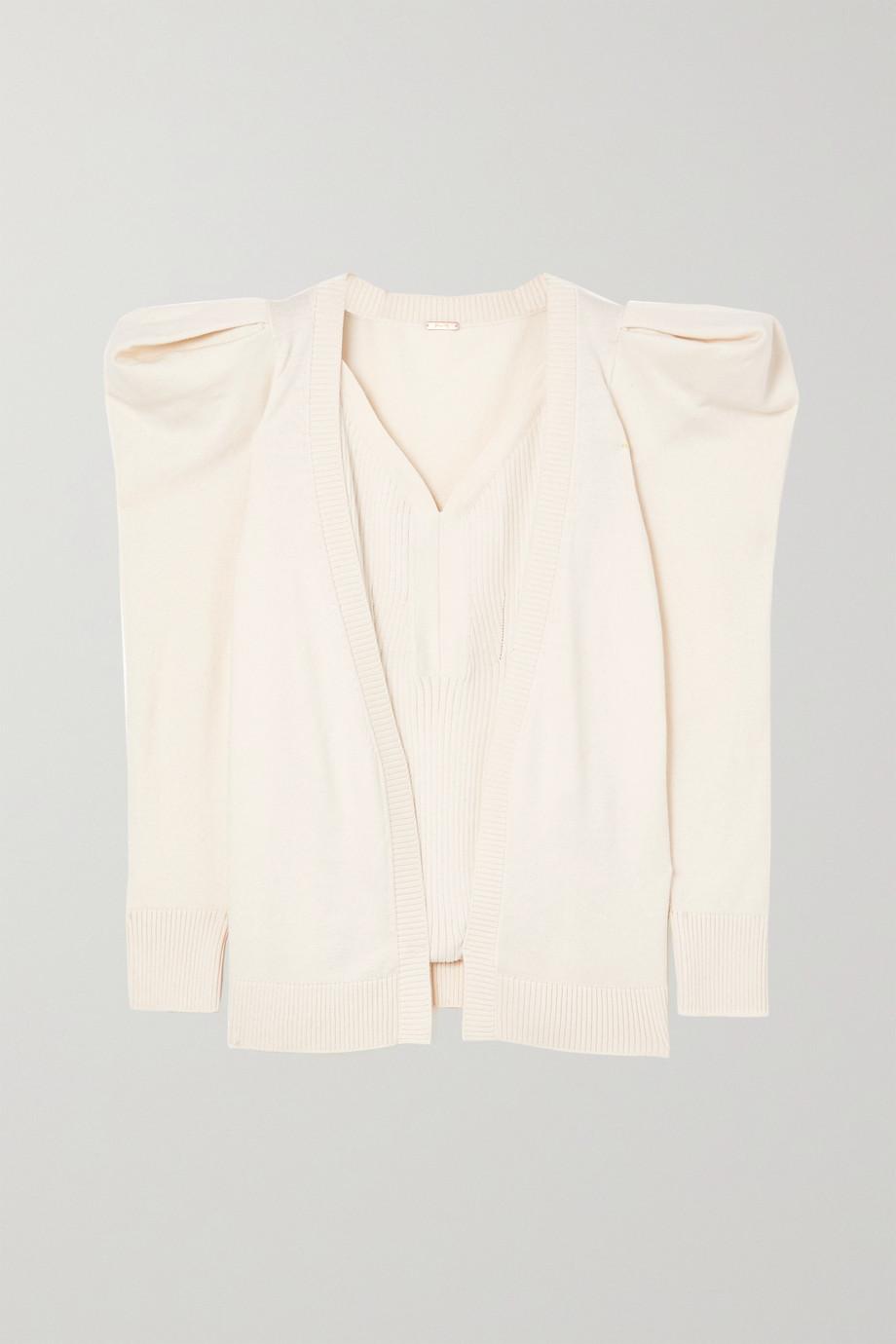 Johanna Ortiz +NET SUSTAIN Pima cotton and alpaca-blend bodysuit and cardigan set