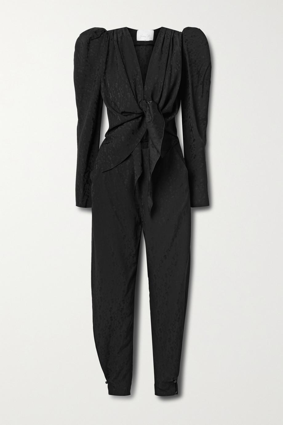 Johanna Ortiz + NET SUSTAIN Splendid Isolation tie-front cutout floral-jacquard jumpsuit