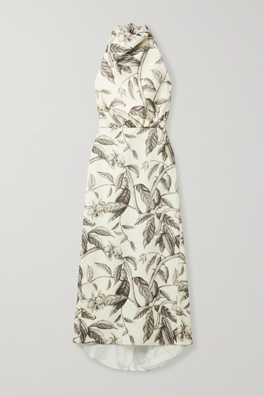 Johanna Ortiz Rewarding Journey floral-print satin halterneck midi dress