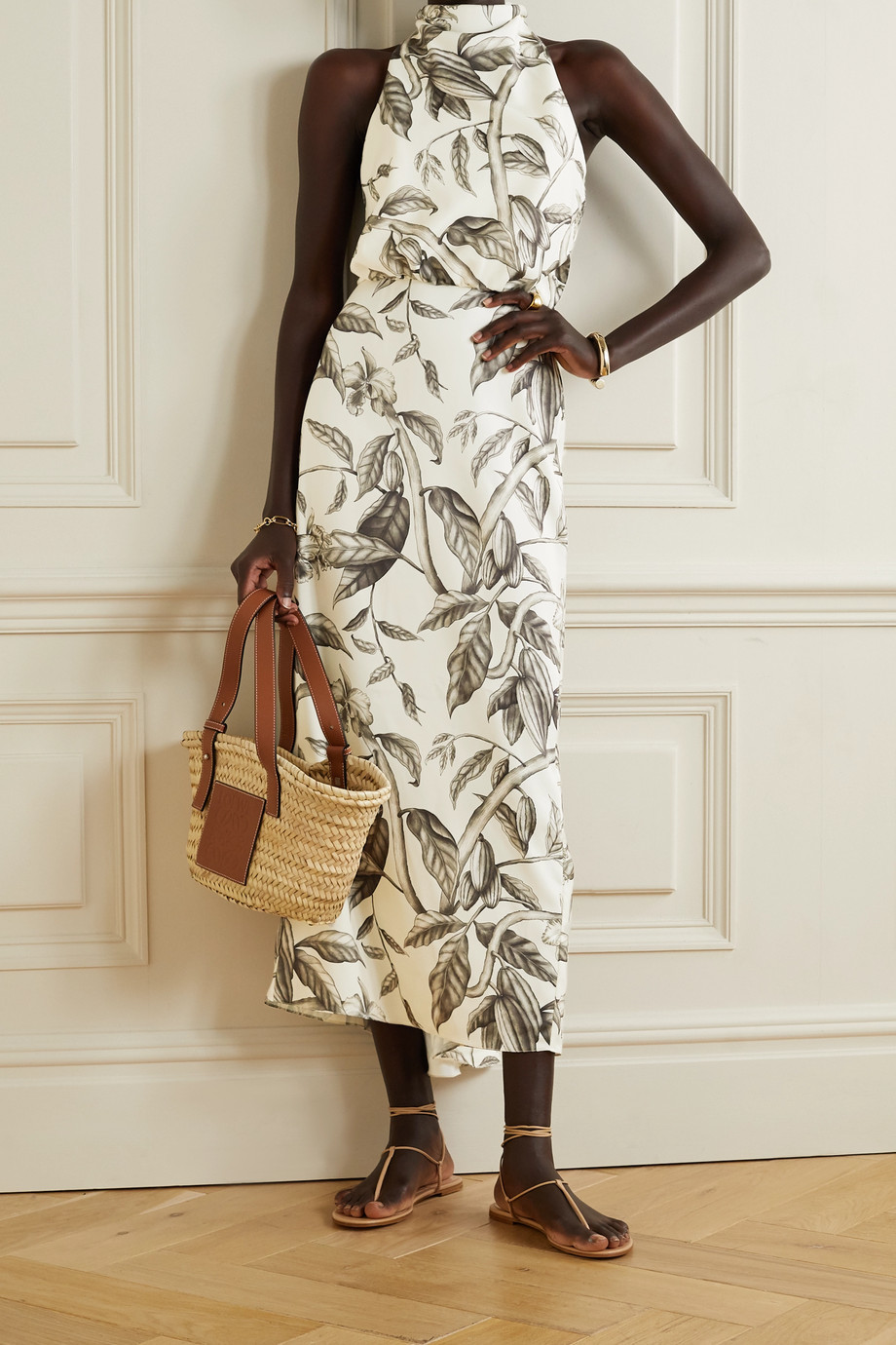 Johanna Ortiz + NET SUSTAIN Rewarding Journey floral-print recycled satin halterneck midi dress