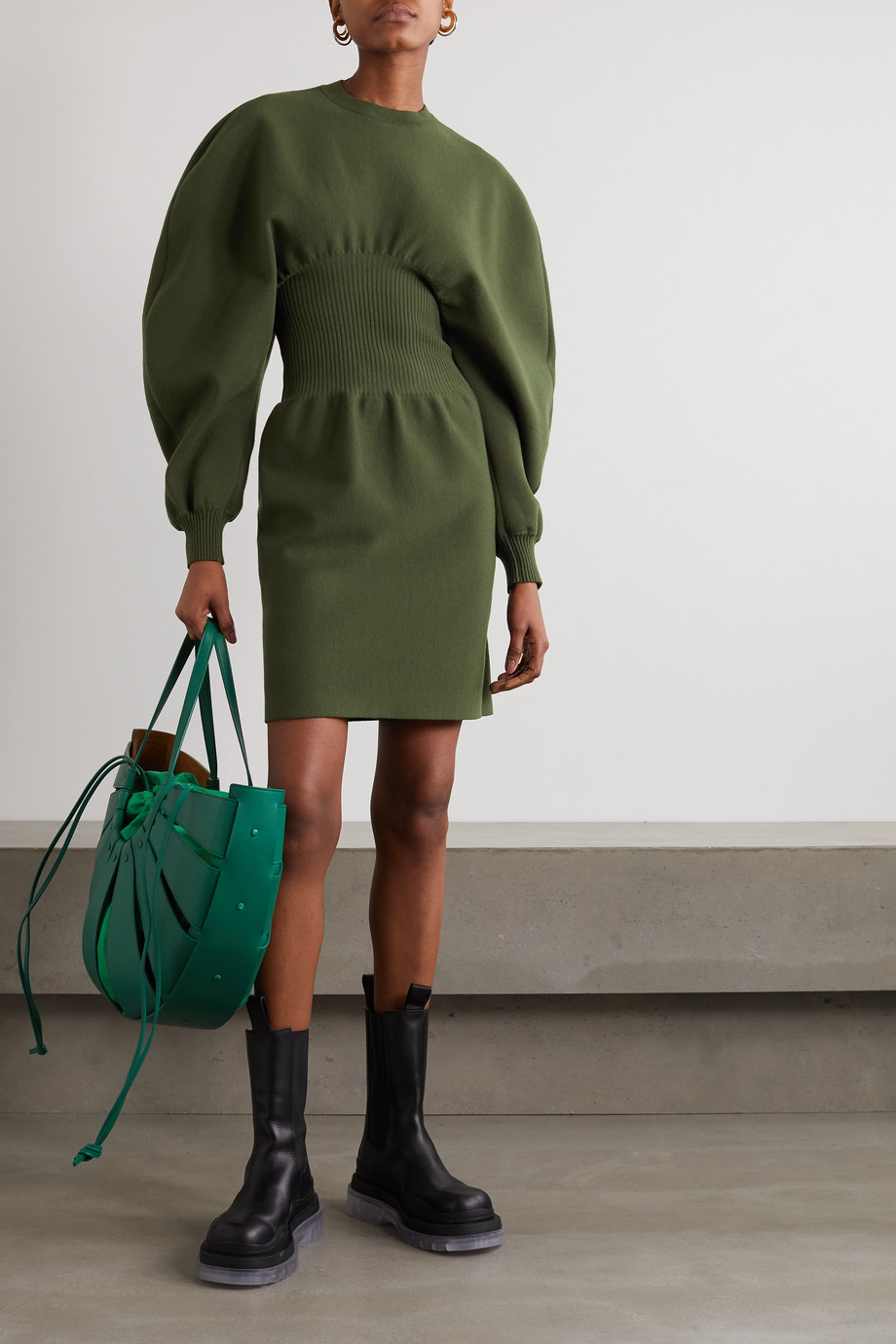 Bottega Veneta Ribbed wool-blend mini dress