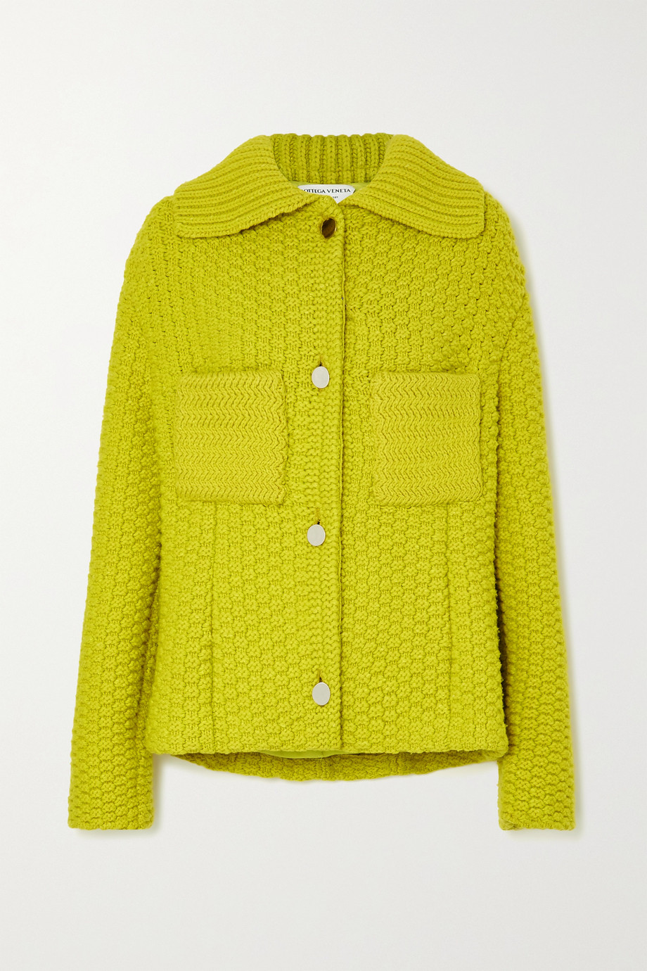 Bottega Veneta Jacke aus Waffelstrick aus einer Wollmischung