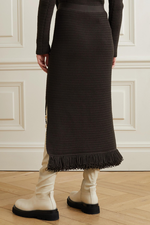 Bottega Veneta Jupe midi en coton crocheté à franges