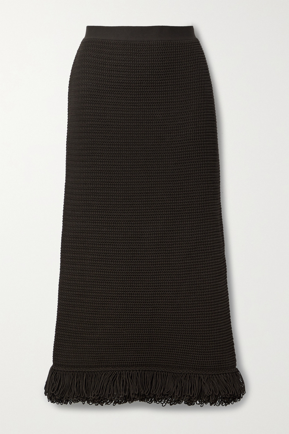 Bottega Veneta Fringed crocheted cotton midi skirt