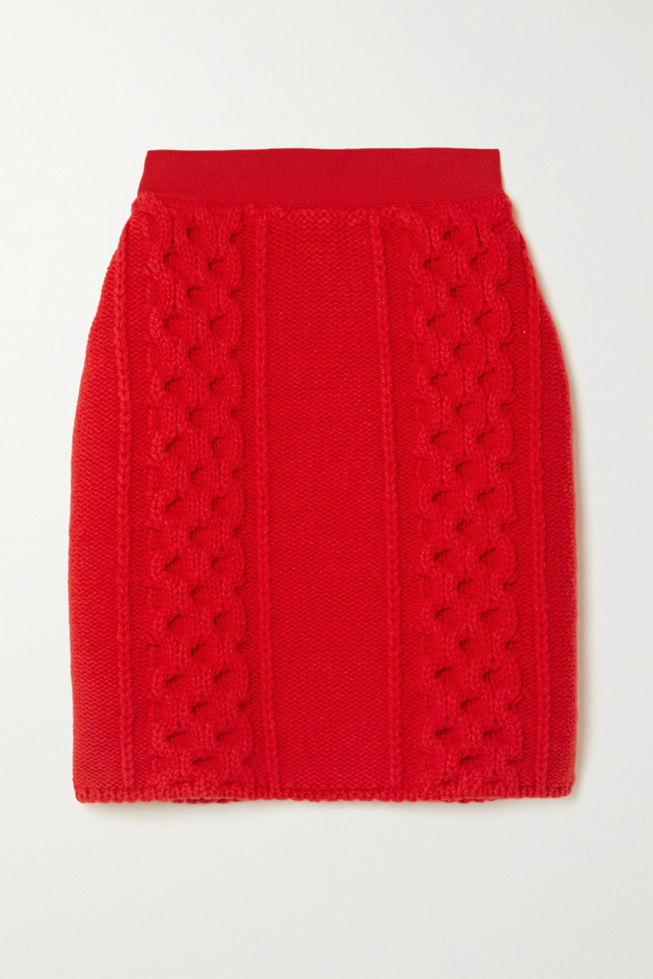 Bottega Veneta Cable-knit wool and cotton-blend mini skirt