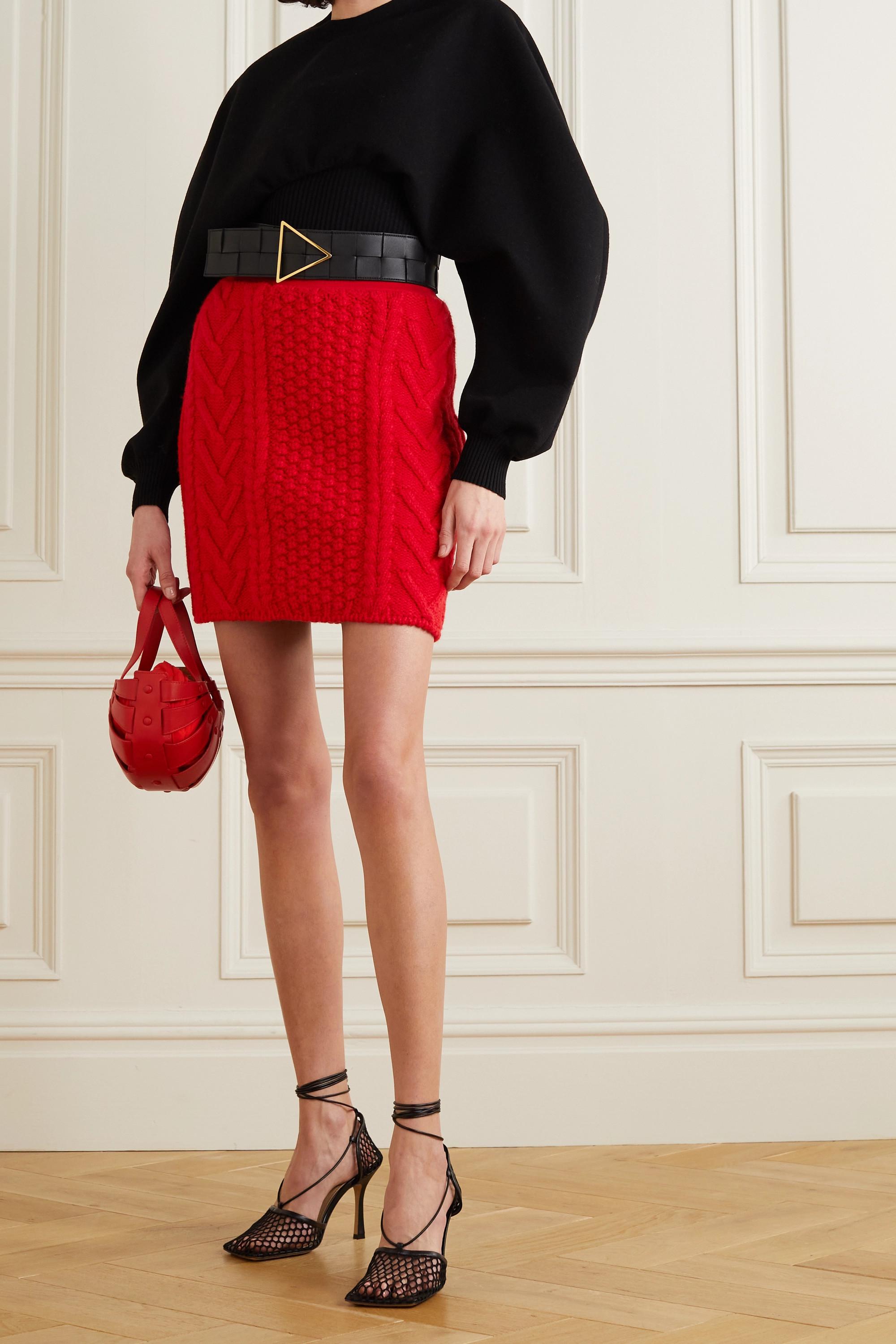 Bottega Veneta Cable-knit wool and cotton-blend mini skirt
