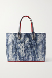 Christian Louboutin Cabata large spiked printed textured-leather tote