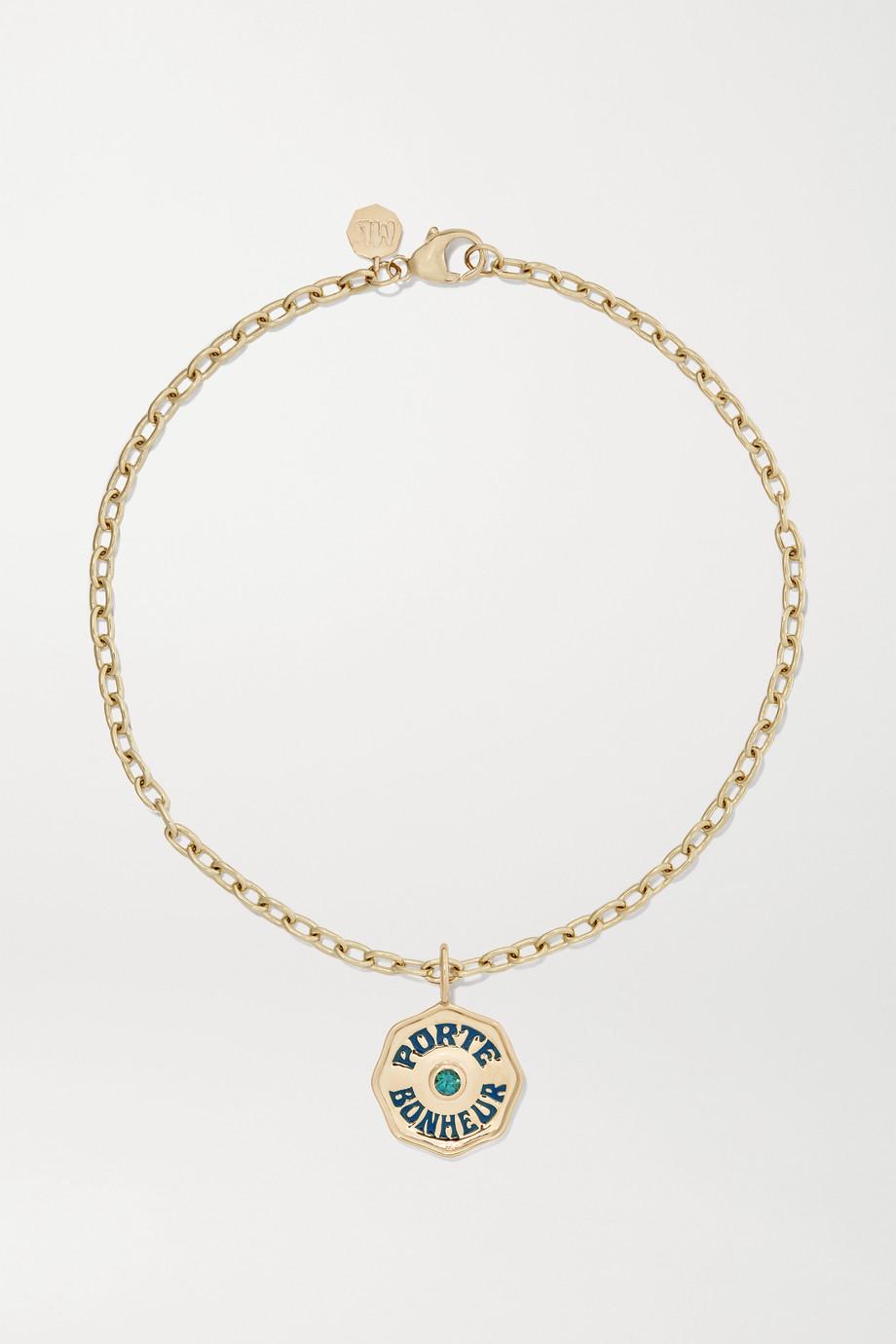 Marlo Laz Mini Porte Bonheur Coin 14-karat gold, enamel and alexandrite anklet