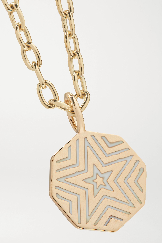 Marlo Laz Mini Porte Bonheur Coin 14-karat gold, enamel and turquoise anklet
