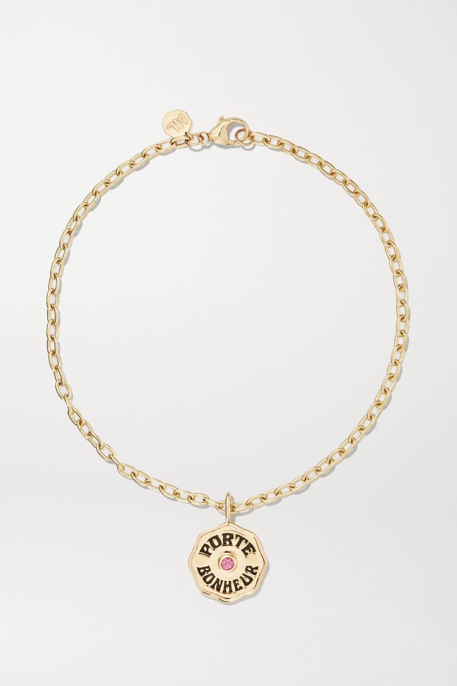 Marlo Laz Mini Porte Bonheur Coin 14-karat gold, enamel and sapphire anklet