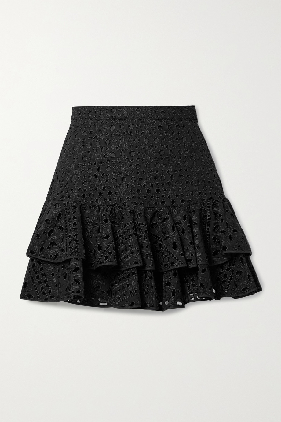 Charo Ruiz Natalie tiered broderie anglaise cotton-blend mini skirt