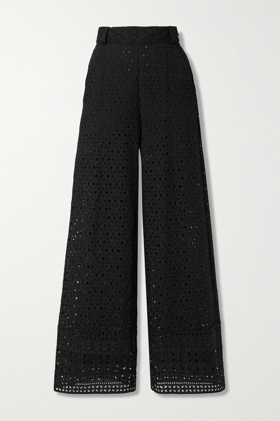 Charo Ruiz Brigid broderie anglaise cotton wide-leg pants