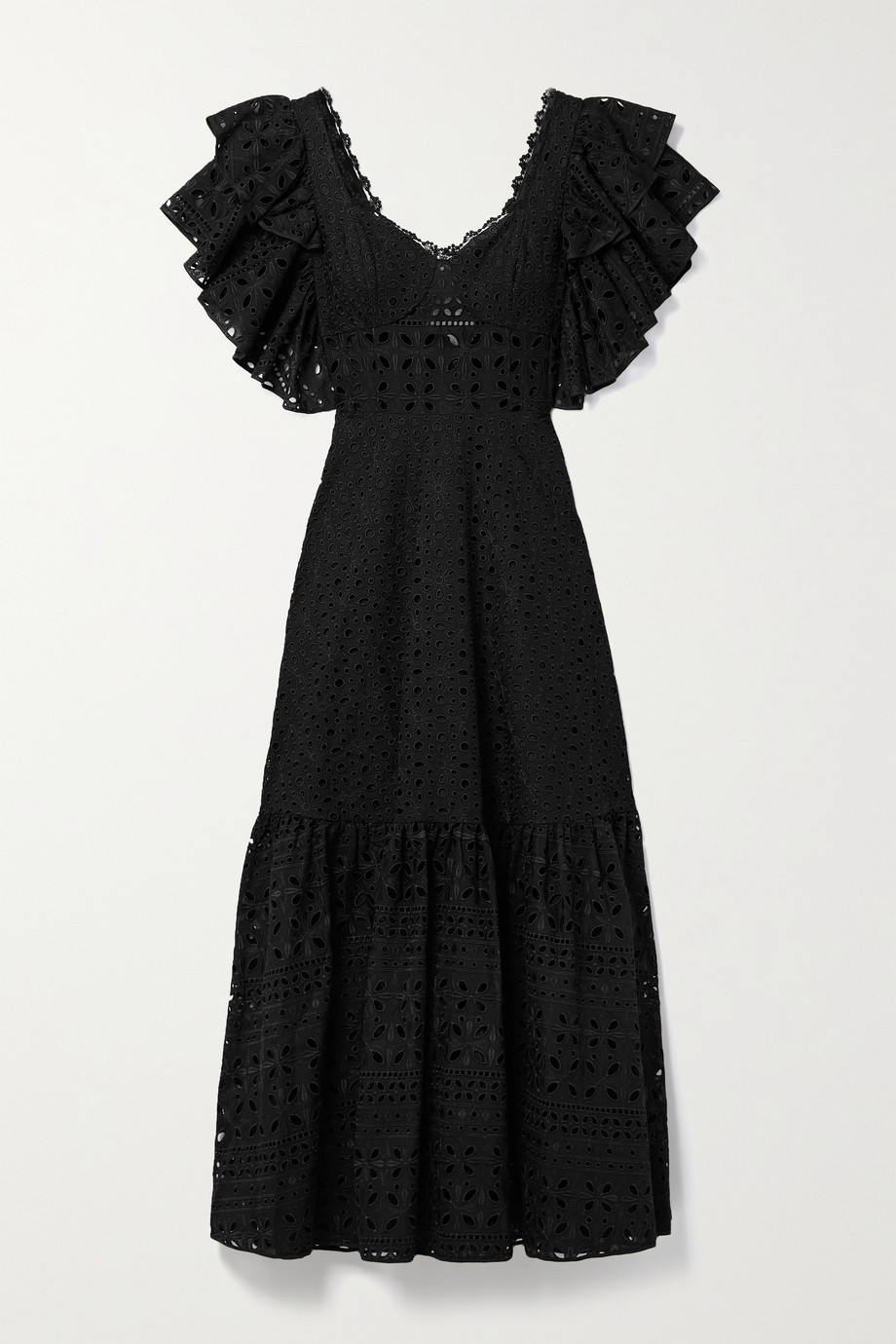 Charo Ruiz Linda ruffled broderie anglaise cotton-blend midi dress