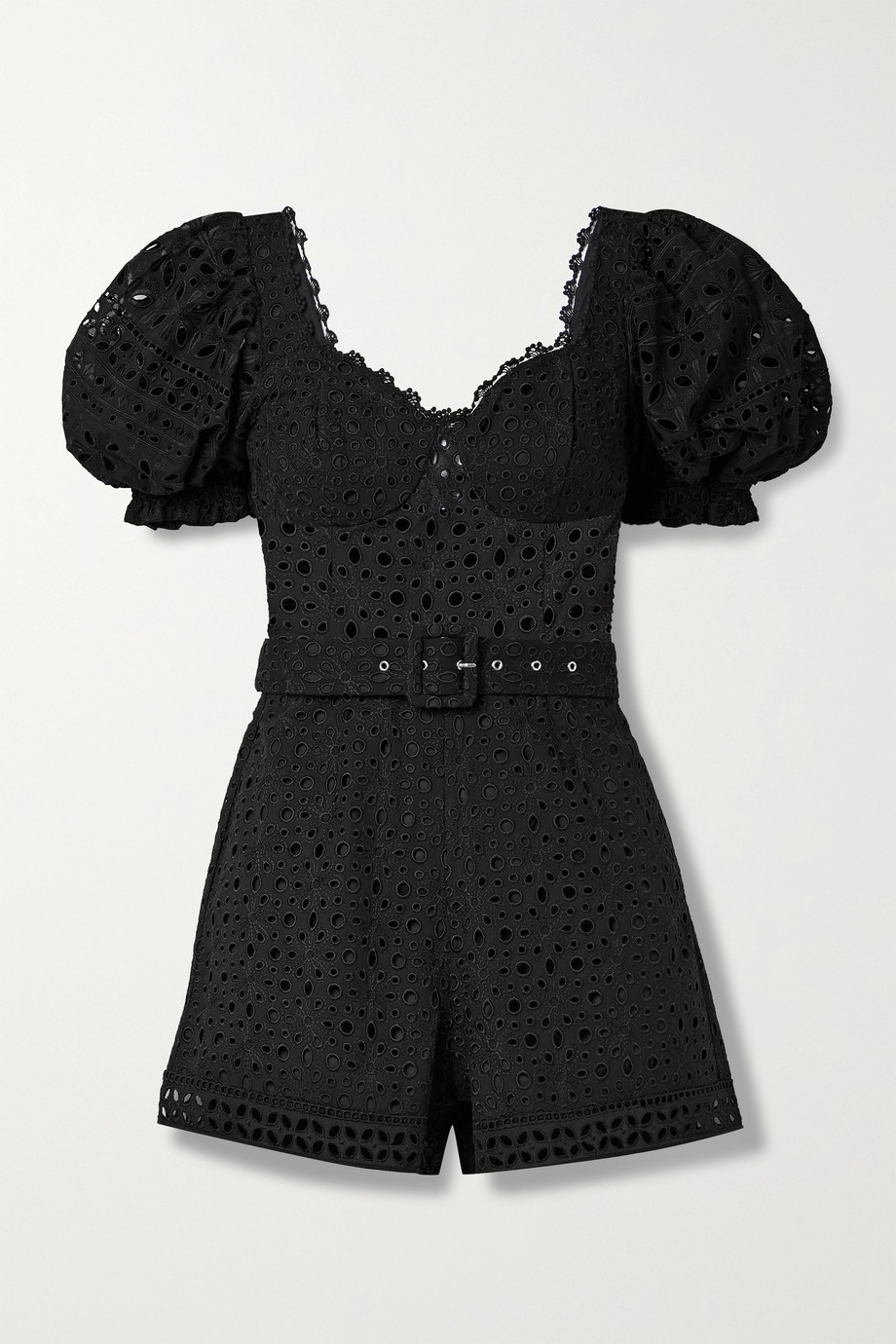 Charo Ruiz Peggi belted broderie anglaise cotton-blend playsuit