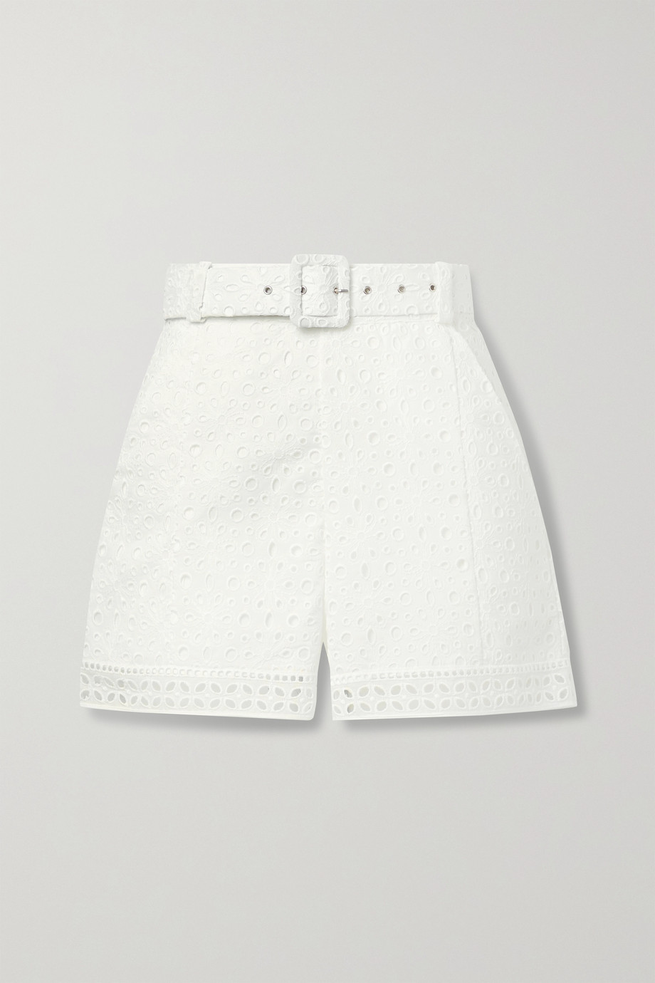 Charo Ruiz Olive belted broderie anglaise cotton-blend shorts