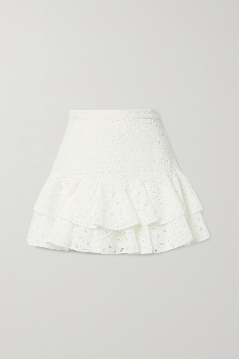 Charo Ruiz Natalie ruffled broderie anglaise cotton-blend mini skirt