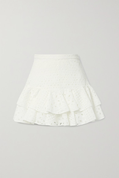 Charo Ruiz - Natalie Ruffled Broderie Anglaise Cotton-blend Mini Skirt - White