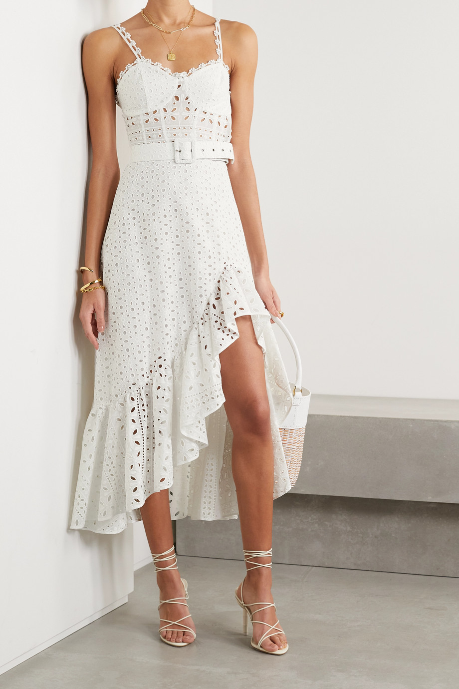 Charo Ruiz Julie belted ruffled broderie anglaise cotton-blend midi dress