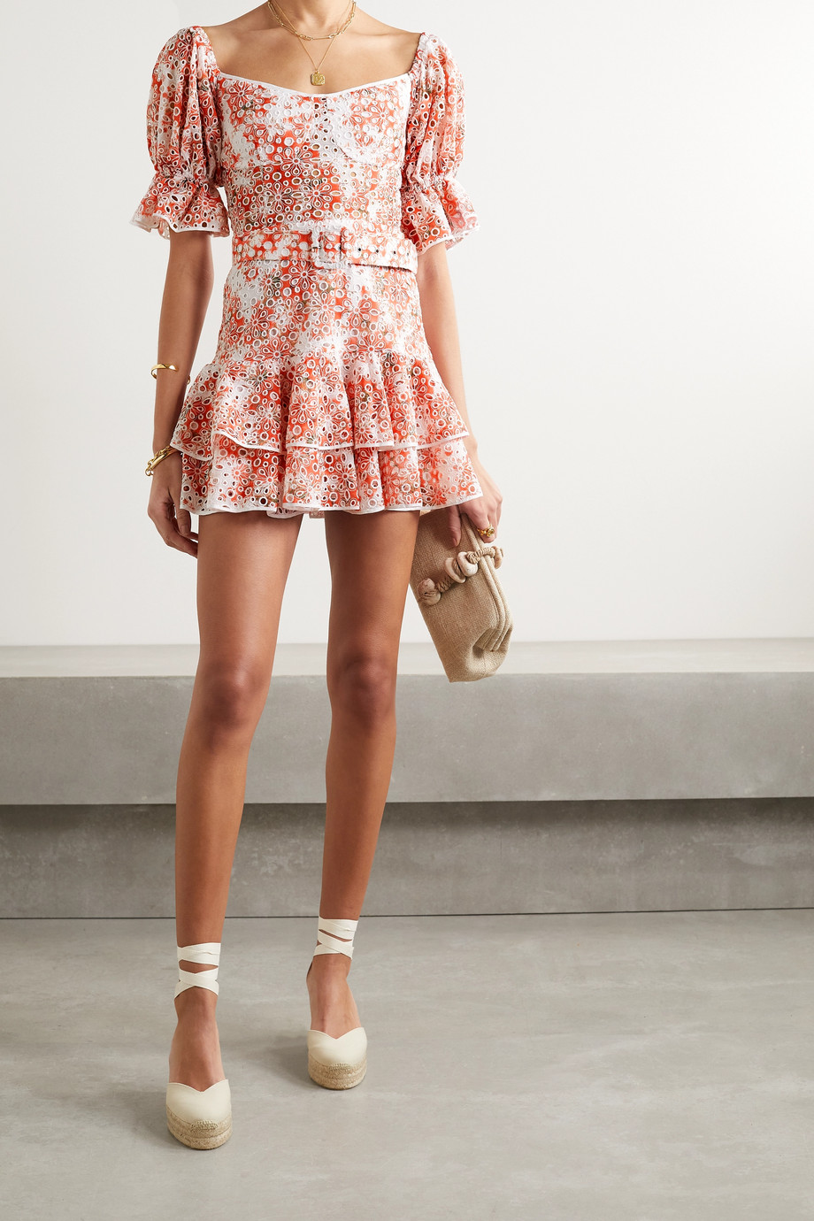 Charo Ruiz Jean off-the-shoulder belted printed broderie anglaise cotton-blend mini dress
