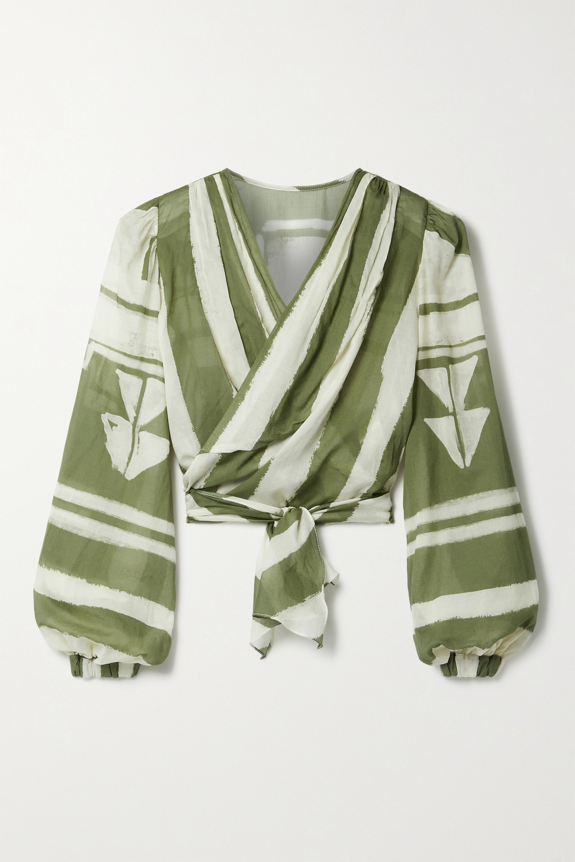 Johanna Ortiz + NET SUSTAIN Camino Inca cropped printed organic cotton-voile wrap top