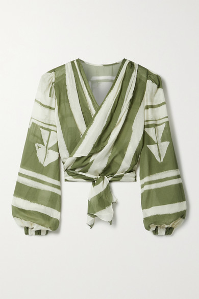 Johanna Ortiz Net Sustain Camino Inca Cropped Printed Organic Cotton-voile Wrap Top In Army Green