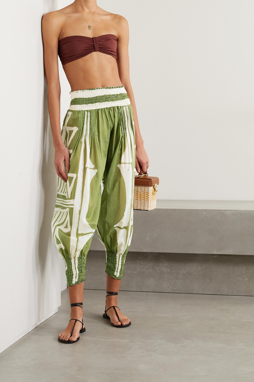 Johanna Ortiz + NET SUSTAIN Geografia Botanica cropped shirred printed organic cotton-voile tapered pants